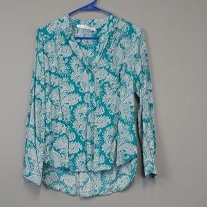 Fun 2 fun green paisley print blouse top size L